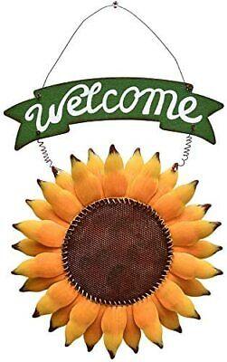 Metal Hanging Sunflower Welcome Sign Door Sign Vintage Welcome Decor Hanging Door Signs