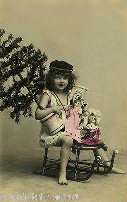 c1900 French Christmas Photo~Girl~Xmas Tree~Antique Sled~Dolls NEW Lg Note Cards