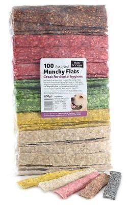 Treat 'N' Chew Munchy Flat Strips Dog Treats Chews Assorted 6 Inch x 100 Pieces