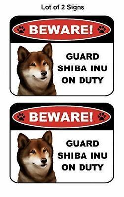 """on Duty/"""" Laminated Dog Sign 2 count /""""Beware Guard Siberian Husky silhouette"""