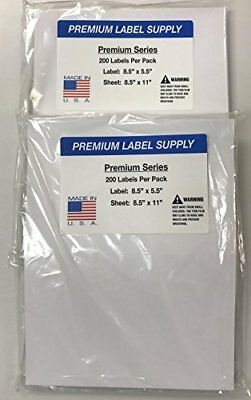 400 Premium 8.5 X 5.5 Half Sheet Self Adhesive Shipping Labels -pls Brand-