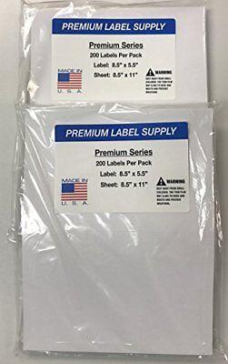 400 Premium 8.5 X 5.5 Half Sheet Self Adhesive Shipping Labels -pls Brand-