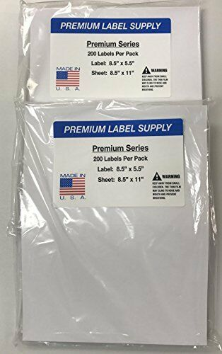 "400 Premium 8.5"" X 5.5"" Half Sheet Self Adhesive Shipping Labels -PLS Brand-"