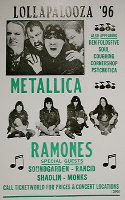 "Lollapalooza 1996 Concert Poster feat. Metallica The Ramones Soundgarden 14""x22"""