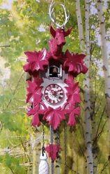 cuckoo clock black forest quartz german wood batterie clock handmade new pink