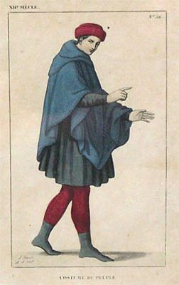 Alter kol. Stahlstich L. Massard Costume du peuple