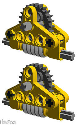 2 Lego GEAR  REDUCERS  (technic,mindstorms,nxt,gearbox,worm,ev3,yellow,robot) - Lego Gear Set