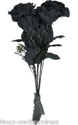 Ladies Black Dead Bride Flower Bouquet Halloween Fancy Dress Costume Outfit Prop](Dead Flower Bouquet Halloween)