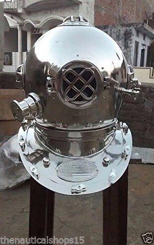 Antique US Navy Mark V Steel Divers Chrome Diving Divers helmet Vintage Gift