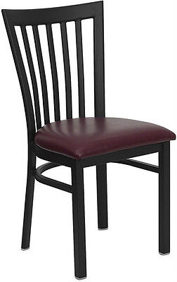 (Black School House Metal Restaurant Chair With Burgundy Vinyl Seat)