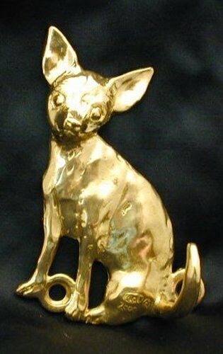 CHIHUAHUA, smooth coat Hook in Bronze