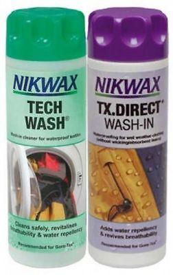 Nikwax Tech Wash & TX Direct Twin Pack Cleaning Waterproof  Clothing 2 x 300ml