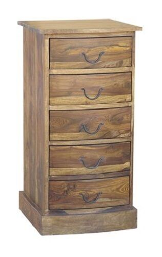Jali 5 Drawer Bow Chest Of Drawers Tall Boy Sheesham Wood Farm House Furniture