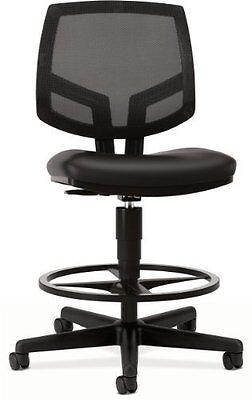 Hon Volt Meshleather Task Stool Wfootring - Leather Black Seat - Back - Black
