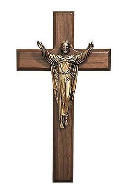 """Walnut Cross Risen Christ Antique Bronze Figure Wall Decor Gift 8""""H Made in USA"""