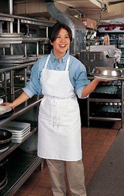 1 White Kitchen Chef Server Waitress Waiter Bib Apron No Pockets