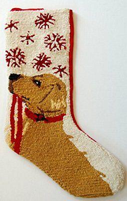 "Golden Retriever Snowflake Leash Hooked Wool  Christmas Stocking - 13"" x 21"""