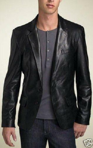 Mens Black Leather Blazer | eBay