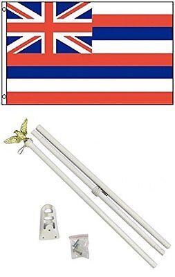3x5 State of Hawaii Flag White Pole Kit Set 3/'x5/'