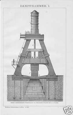 Dampfhammer Fallhammer Schabottenhammer HOLZSTICH von 1908