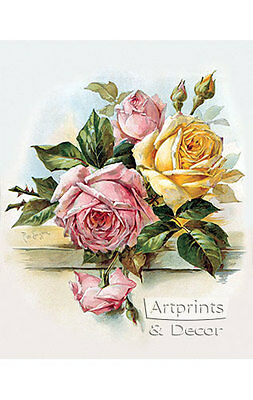 Pink and Yellow Roses by Paul de Longpre (Art Print of Vintage -