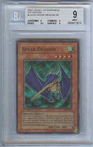 YUGIOH SPEAR DRAGON 1ST EDITION  HOLOFOIL LOD-035  MINT 9  SECRET RARE!