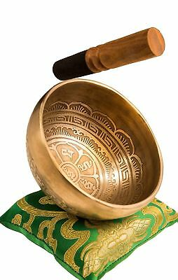 Tibetan Meditation Handmade Singing Bowl Set By YAK THERAPY Om Mani Padme Hum