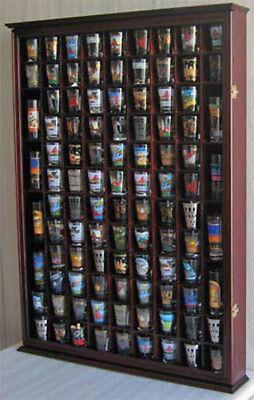 Shot Glass Case (100 Shot Glass Display Case Wall Cabinet Shadow Box,  Mahogany Finish,)