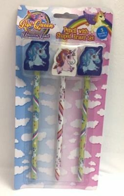 PMS Unicorn Pencils with Shaped Eraser Topper - Pack of 3, Novelty Item - Pms 348
