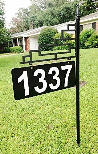 "Extra Large Contemporary Reflective Address Sign with 6"" Bold 911 Numbers"