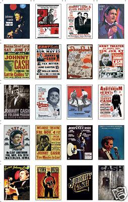 Johnny Cash Concert Poster Trading Card Set uncut Sheet