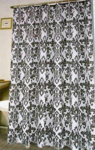 Black and white damask shower curtain ebay
