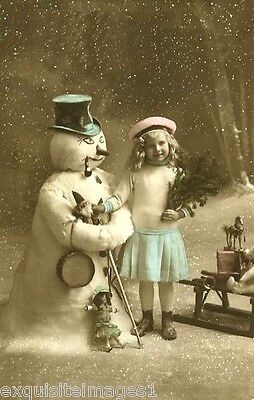 c1900 French Christmas Real Photo~Girl~Snowman~Toy Horse~Doll~NEW Note Cards