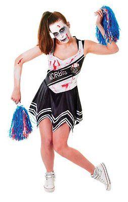 Evil Zombie Cheerleader Womens Halloween Fancy Dress Costume Size 10 12 14 - Evil Cheerleader Costume