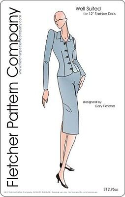 Classic Suit Doll Clothes Sewing Pattern for 12