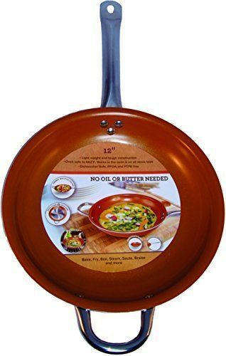 Copper  Frying Pan 12 inch Ceramic Infused Non Stick inducti