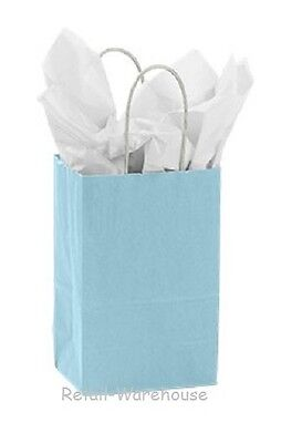 Paper Shopping Bags 25 Powder Blue Retail Merchandise Rose 5 X 3 X 8 H