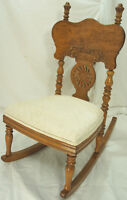 Antique Birds Eye Maple Childs Rocking Chair