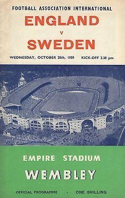 * 1959- ENGLAND v SWEDEN *