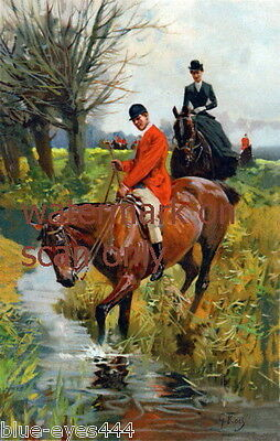 c1900~Sidesaddle Woman & Man on Horse Horses Crossing Stream NEW Lge Note Cards