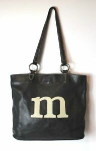 ROOTS MONOGRAM LARGE LEATHER BAG 'M'