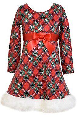 Bonnie Jean Girls (7-16) Red/Green Plaid Sequin Santa Christmas Dress w/Fur Hem - Girls Christmas Dresses 7-16