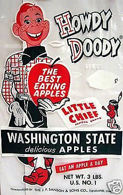 Old Howdy Doody Washington Apples Bag Cleveland Ohio