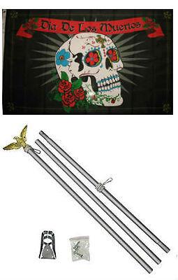 3x5 Dia De Los Muertos Day of the Dead Flag Aluminum Pole Kit Set - Dia De Los Muertos Flags