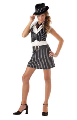 Mobsta Mobster Gangster OG Girl Mafia Tween Teen Halloween Costume NEW SZ 7-9](Mobster Girl Halloween Costume)