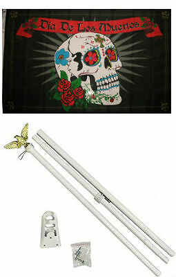 3x5 Dia De Los Muertos Day of the Dead Flag White Pole Kit Set 3'x5'](Dia De Los Muertos Flags)