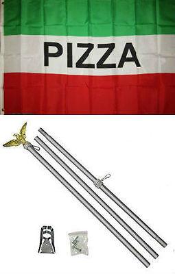 3x5 Advertising Pizza Red White Green Flag Aluminum Pole Kit Set 3'x5'