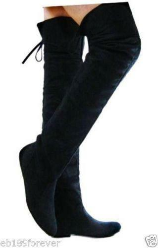 flat black thigh high boots ebay