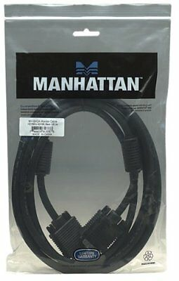 Manhattan 317733 Monitor Video Cable - 10 Ft - Black Hd-15 Male Vga - Hd-15 (Manhattan Vga Monitor Cable)