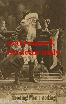 c1900 B&W Photo~Santa Claus Huge Christmas Stocking on Mantle~NEW Lg Note Cards